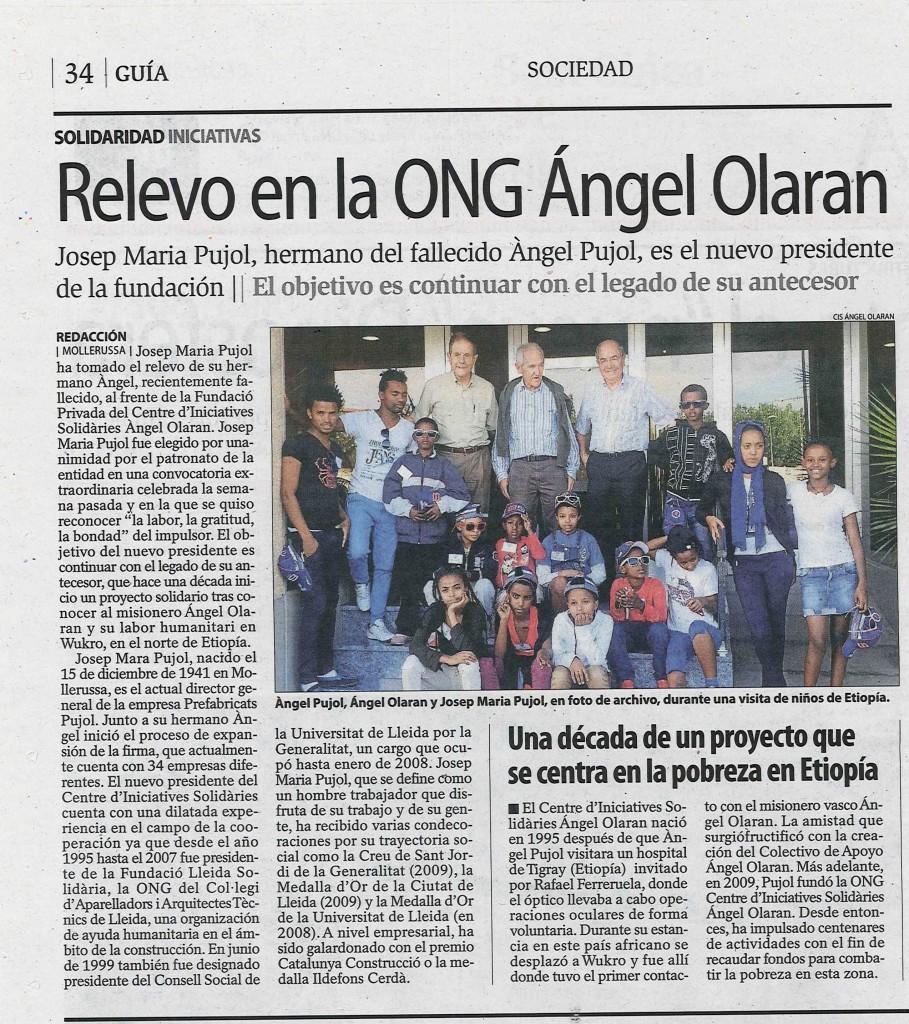 Diari Segre Relevo en la ONG Ángel Olaran