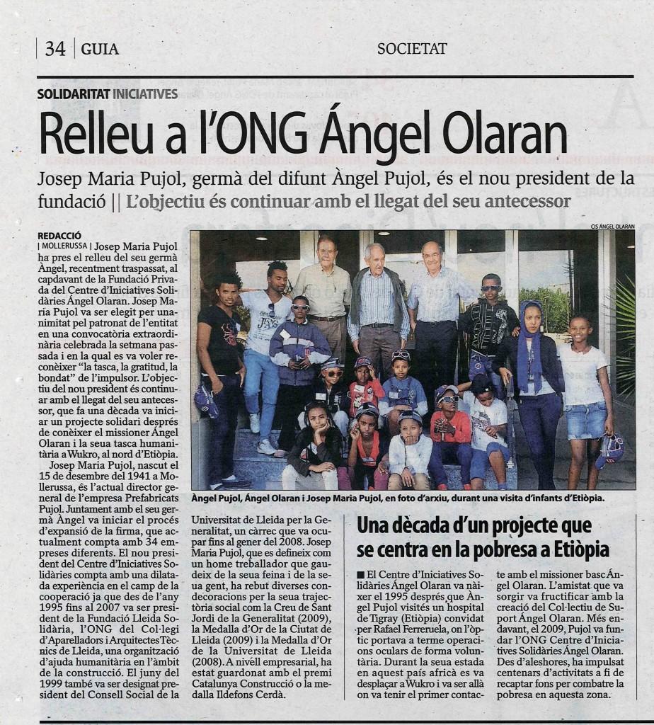 Diari Segre Relleu a l'ONG Ángel Olaran