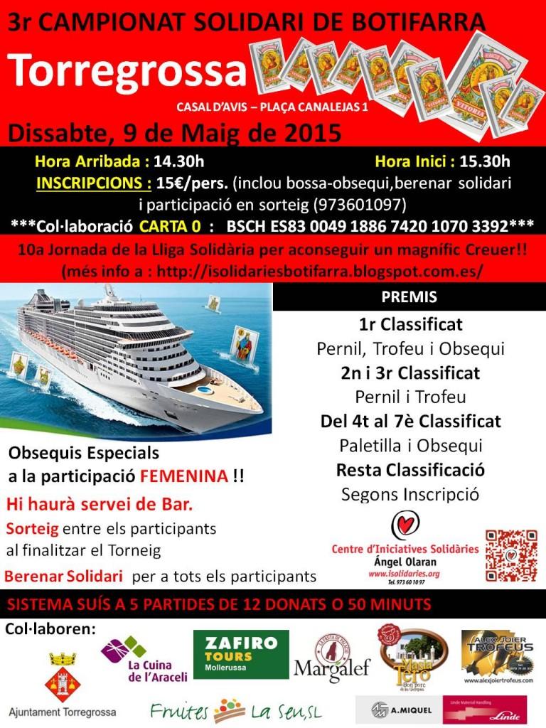 Cartell del campionat del joc de la botifarra de Torregrossa 2015