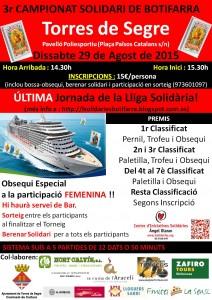 Torres de Segre acoge la jornada decisiva de la liga del joc de la botifarra