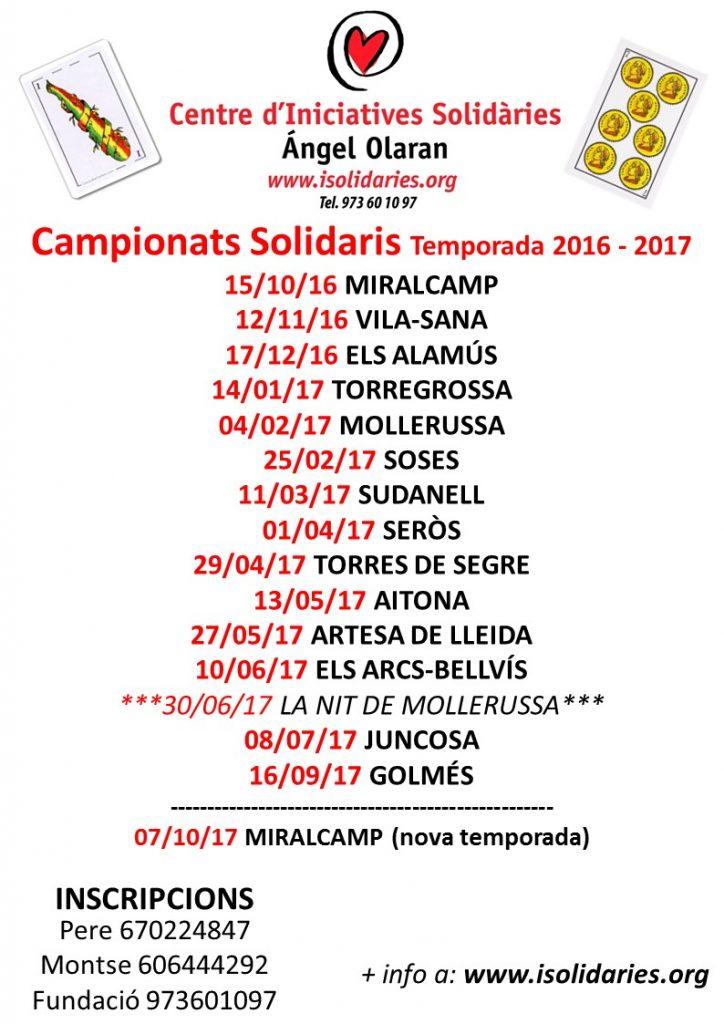 Campionats Solidaris Joc Botifarra 2016-2017