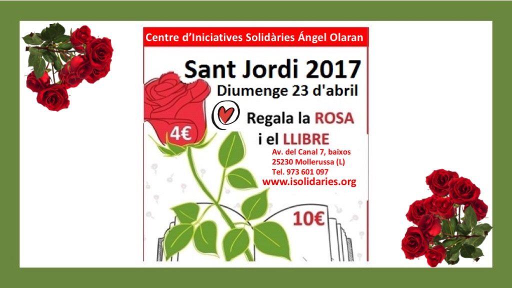 Diada de Sant Jordi amb roses i llibres solidaris