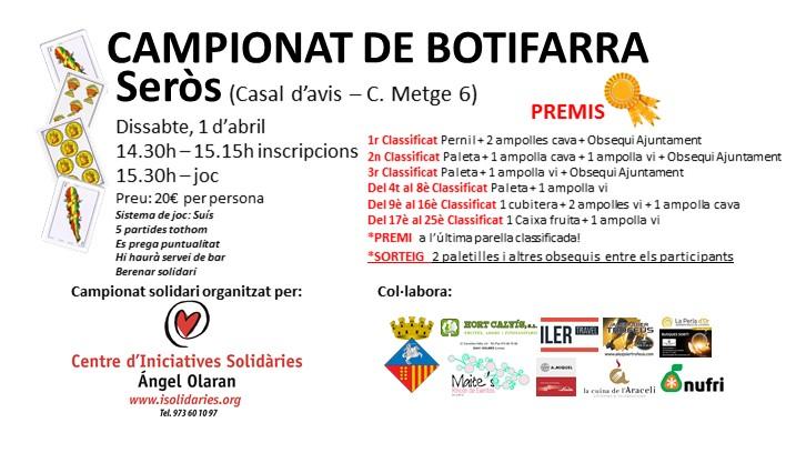 Seròs celebra un nou campionat del joc de botifarra
