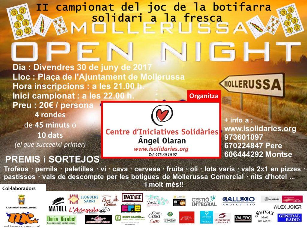 Campionat joc de botifarra al VI Open Night Mollerussa