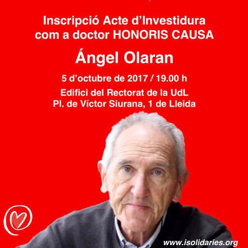 Inscripció acte investidura Angel Olaran com a Doctor Honoris Causa