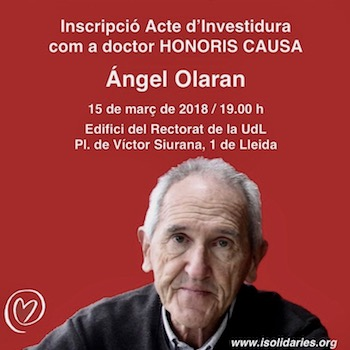 Inscripció acte investidura Angel Olaran com a Doctor Honoris Causa