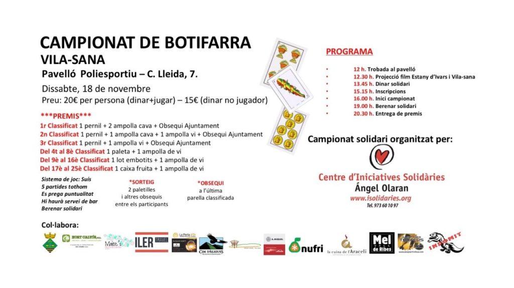 El campionat del joc de la botifarra arriba a Vila-sana