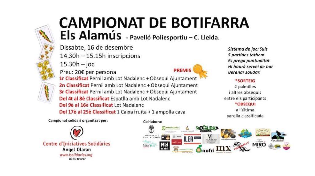 Els Alamús viu el darrer campionat de la botifarra del 2017