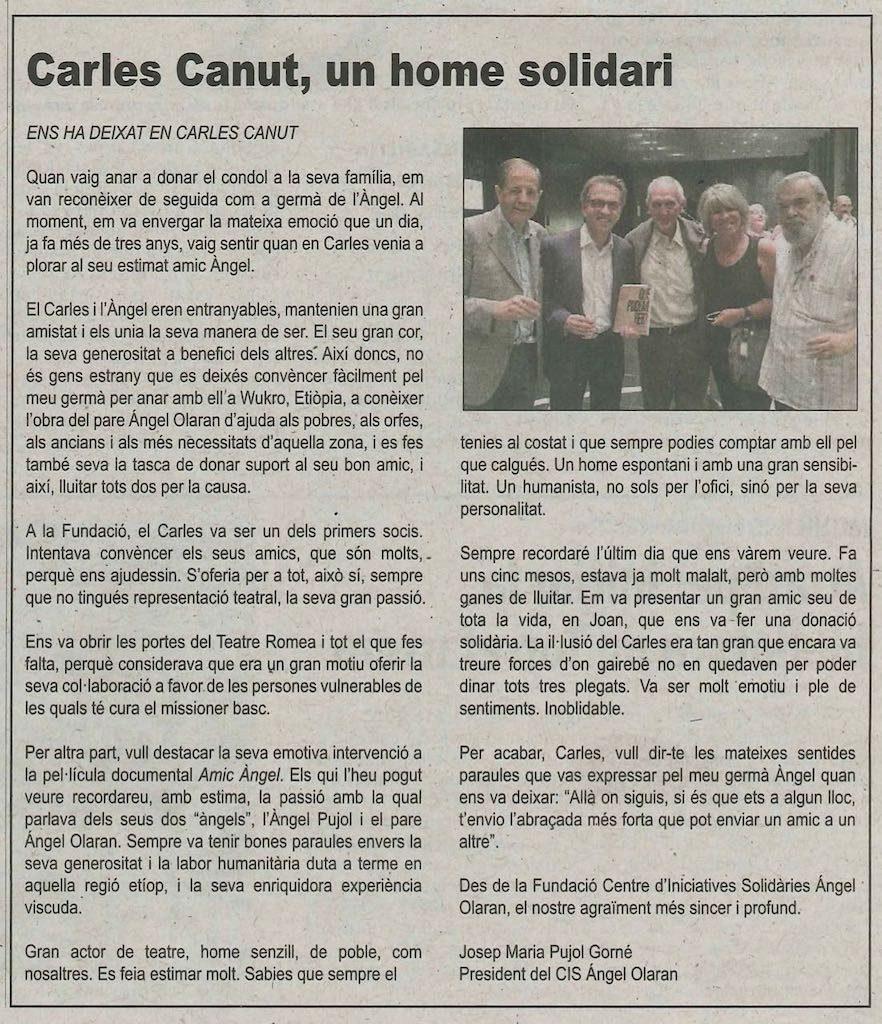 07-10-18 Diari Segre -Carles Canut-un home solidar