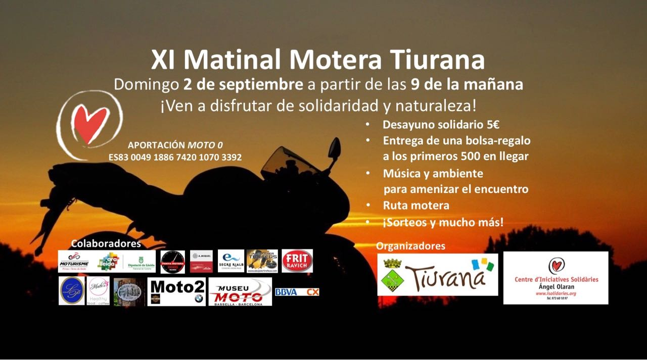 Domingo 2 de septiembre, XI matinal motera en Tiurana con desayuno solidario  XI-Matinal-Motera-Tiurana-con-desayuno-solidario-2018