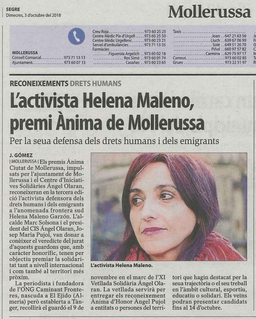 03-10-18 Diari Segre-Helena Maleno Premi Ànima de Mollerussa