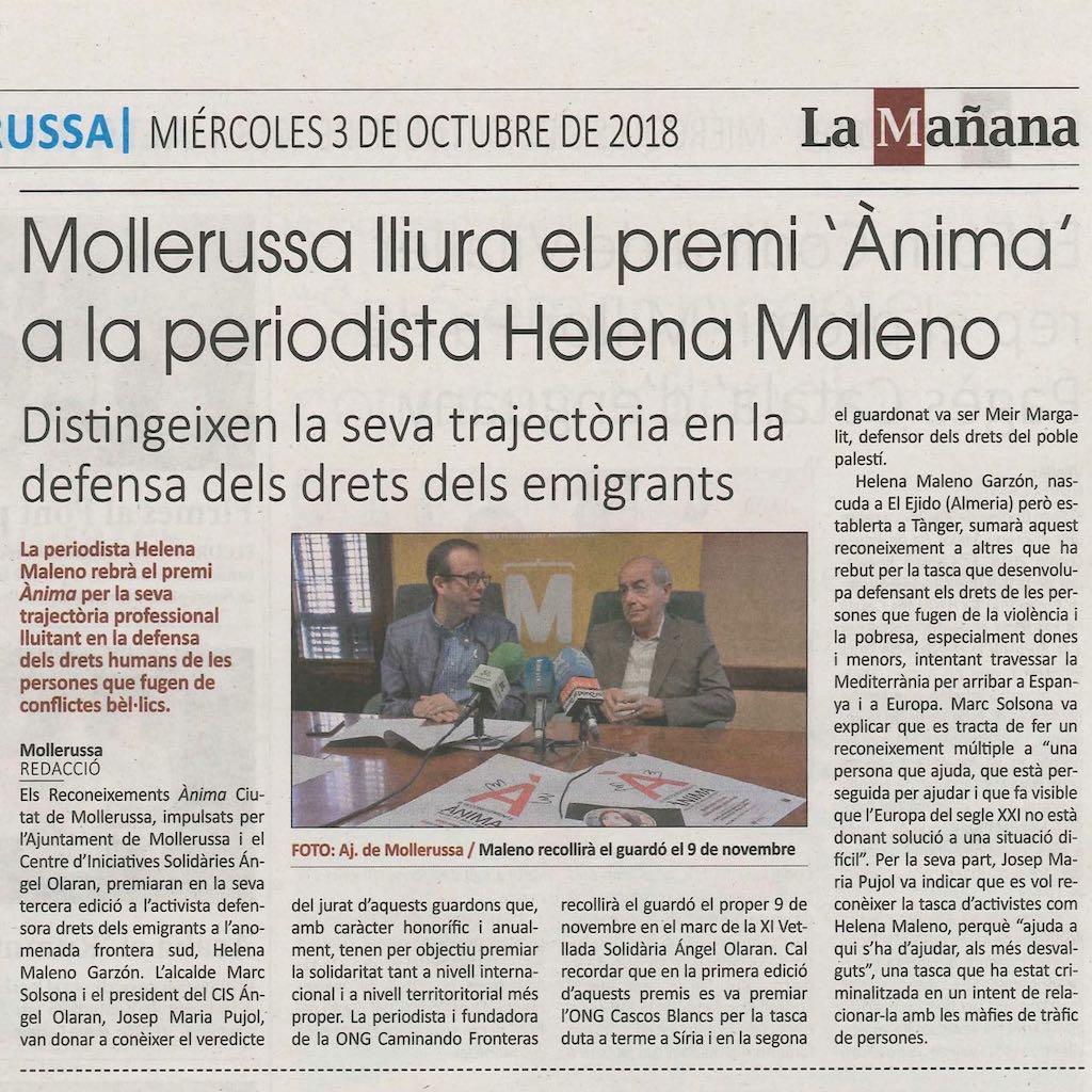 03-10-18 La Mañana-Reconeixement Ànima Helena Maleno