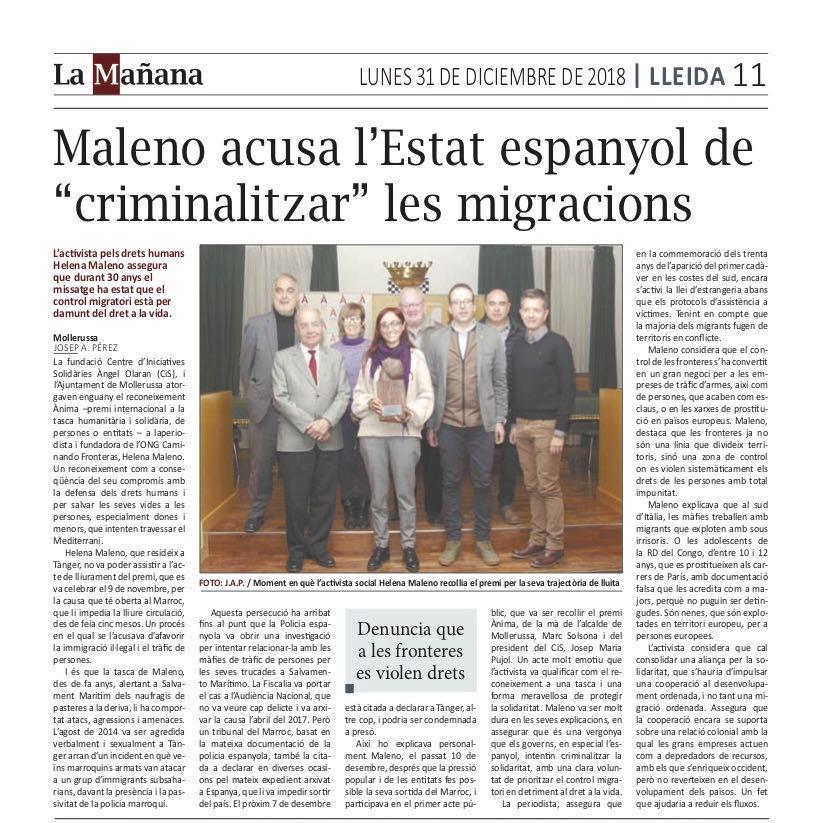 Helena Maleno recull el Reconeixement Ànima a Mollerussa-La Manyana