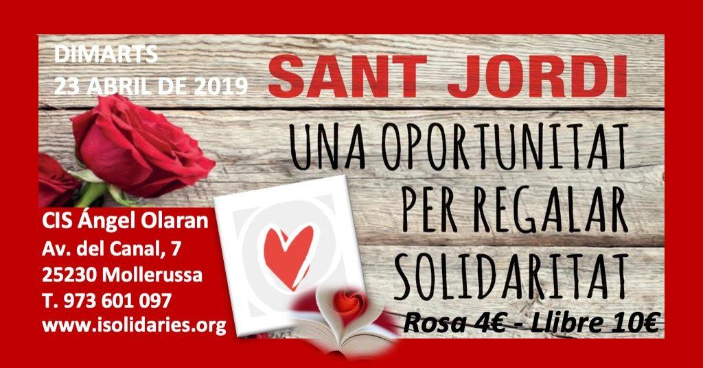 Diada de Sant Jordi 2019 amb roses i llibres solidaris