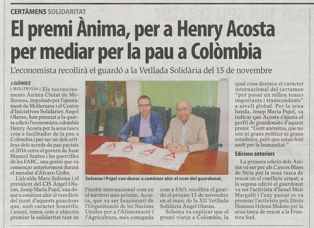 Presentació IV Reconeixements Ànima amb distinció a Henry Acosta