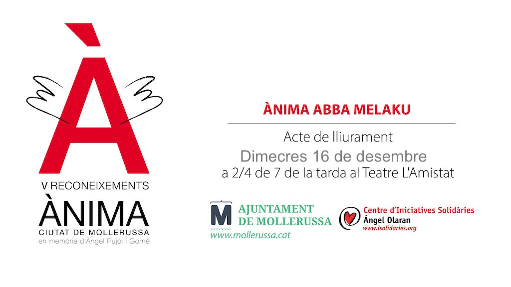 V Reconeixements Ànima amb el lliurament del premi Abba Melaku- 16-12-20